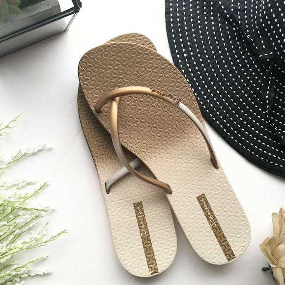 ced2b212f Ipanema Shoes | Sandals Gold Criss Cross Flip Flop 7 | Poshmark